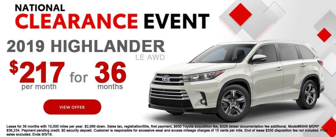 Toyota Highlander Lease >> 2019 Toyota Highlander Le Awd Lease Special Toyota Of Dartmouth